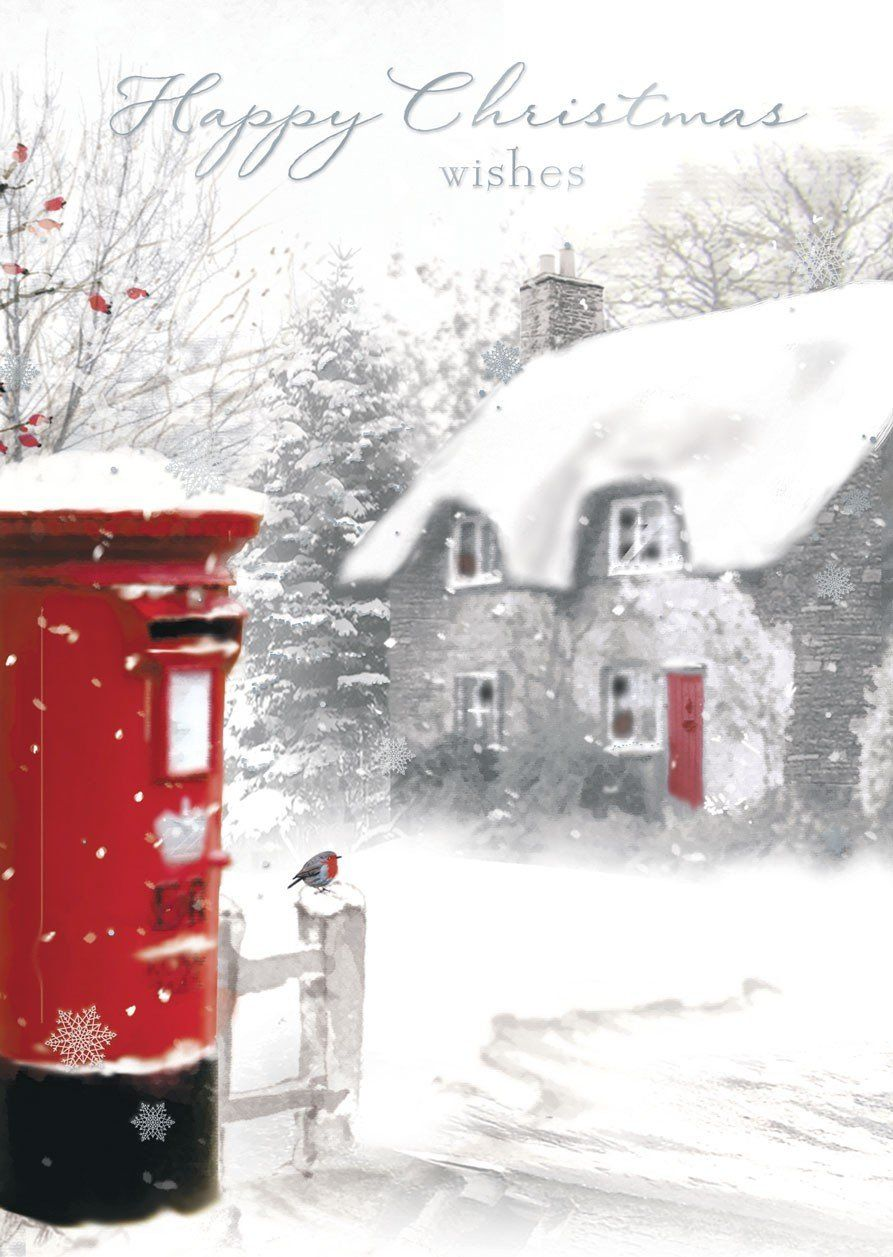 Pack of 12 Winter Scenic Charity Christmas Cards with