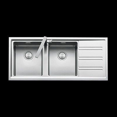 abey barazza easy top mount drop in double bowl with drainer sink 1160mm x - Abey Kitchen Sinks