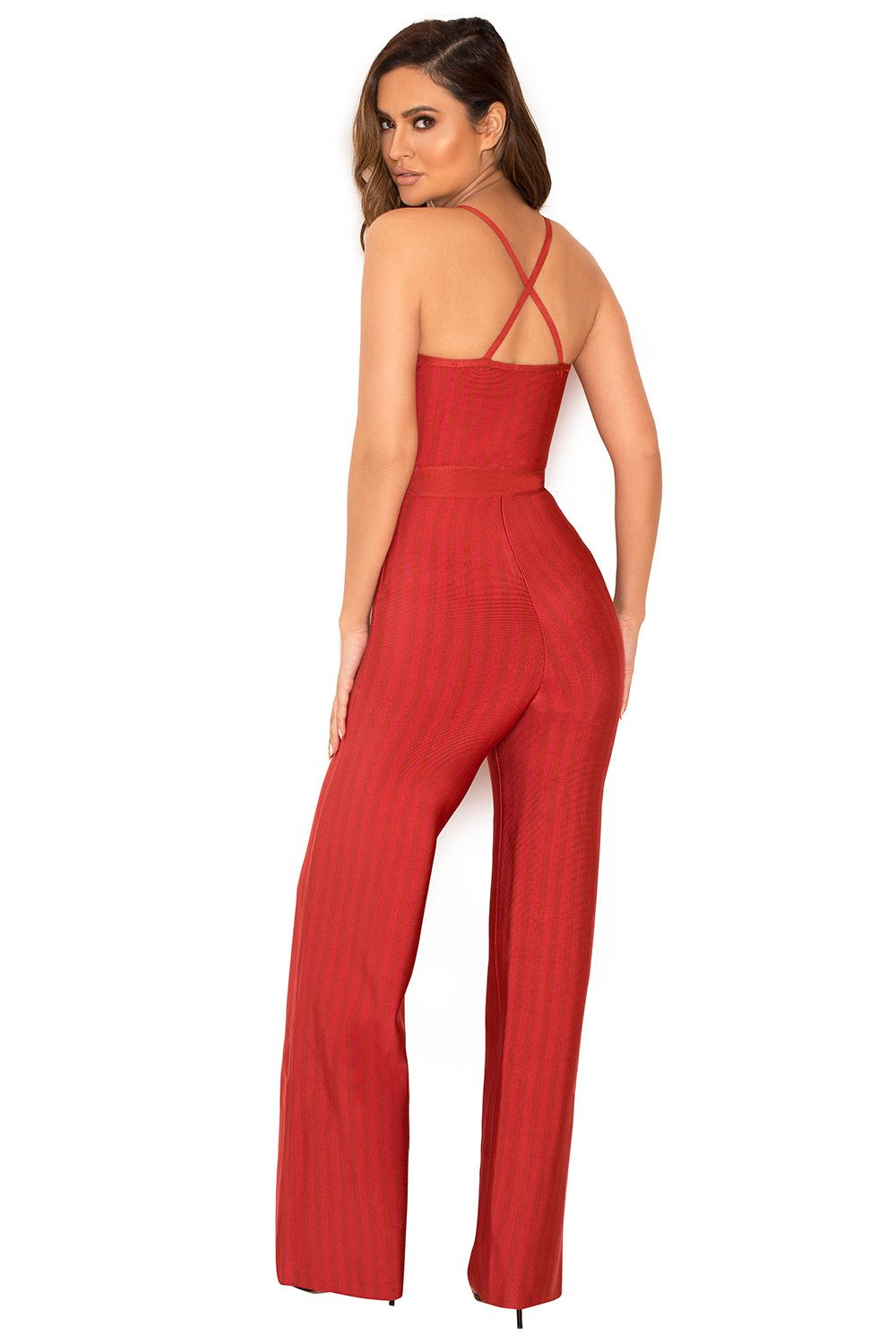 799d1ea82b Clothing   Jumpsuits    Devi  Red Strappy Bandage Jumpsuit