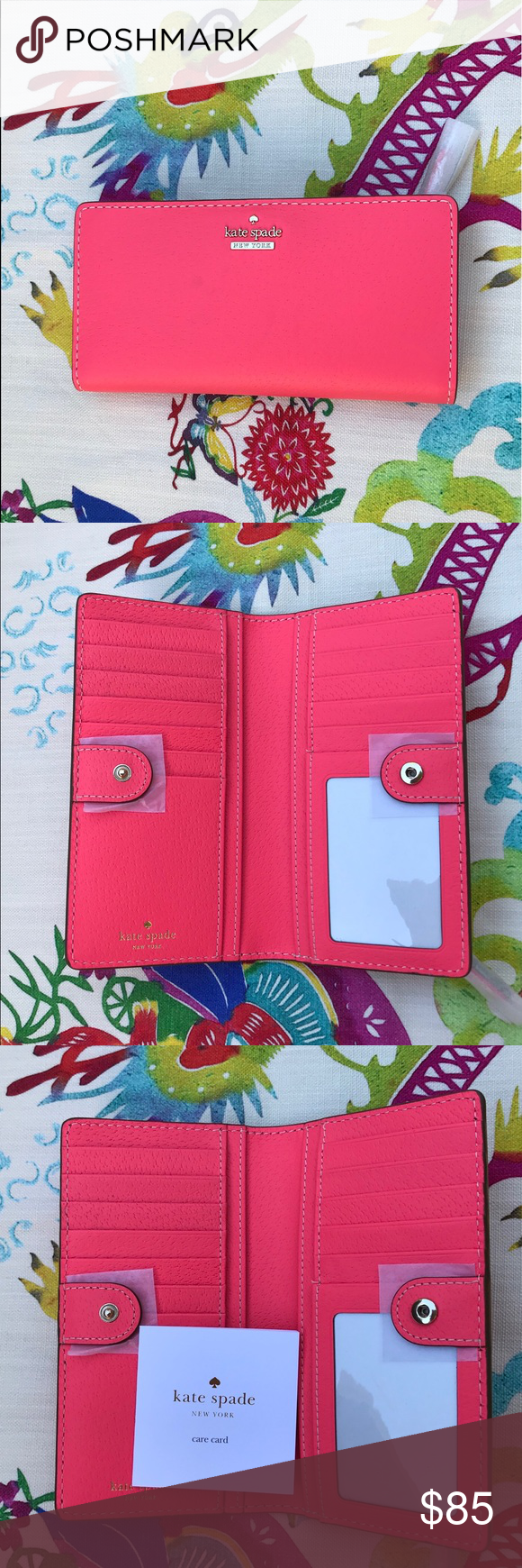 """b83077afb023 🆕🆕KATE SPADE Wallet in Bright Flamingo😎 NEW WITH TAGS Thompson Street  Stacy Color  Bright Flamingo - FUN summer color! 6.6""""w X 3.5""""h X 0.5""""d 12  credit ..."""