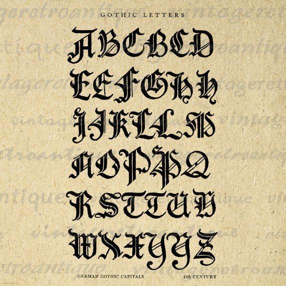 Printable Graphic German Gothic Letters Image Alphabet