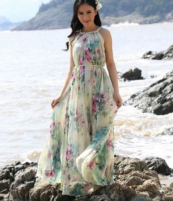 Summer Floral Long Beach Maxi Dress Lightweight By Lydress