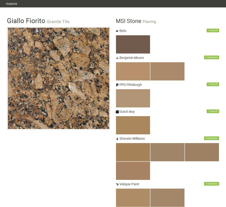 Giallo Fiorito. Granite Tile. Flooring. MSI Stone. Behr. Benjamin Moore.