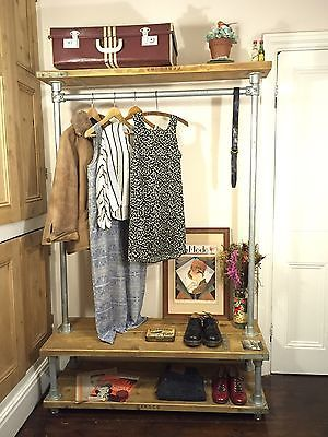 Industrial Clothes Rail Bespoke Furniture Scaffold Reclaimed Wood Ebay