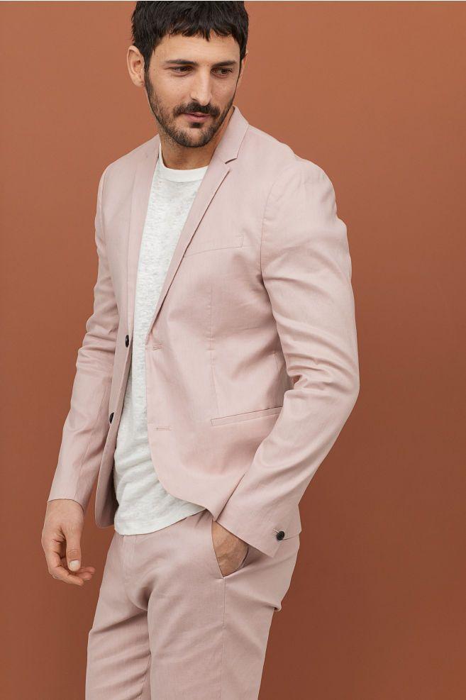 Americana Super Skinny Fit Rosa Palo Hombre H M Es Estilo De Ropa Hombre Moda Juvenil Hombre Vestir Elegante Hombre