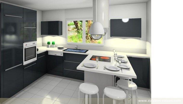 Cuisine design moderne am nagement de la pi ce en u - Amenagement petite cuisine en u ...
