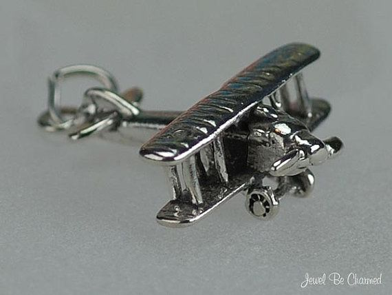 Bi-Wing Airplane 925 Sterling Silver 3D charm
