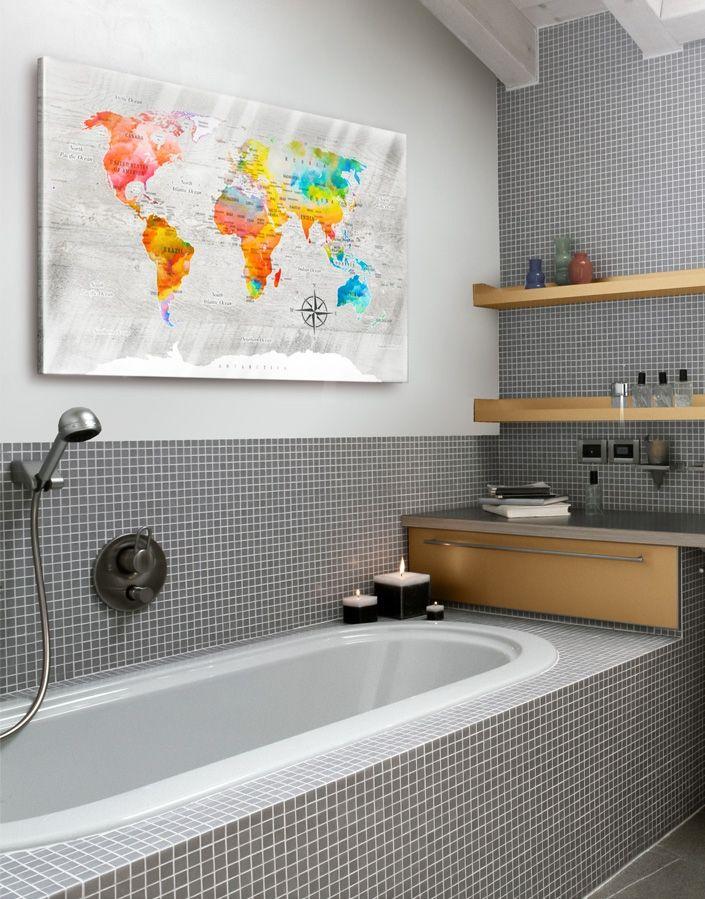 Glasbilder Für Badezimmer: Multicolored Travels [Glass]