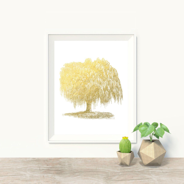 Willow Tree Faux Gold Foil Art Print - Mystical Art - Wall Art ...