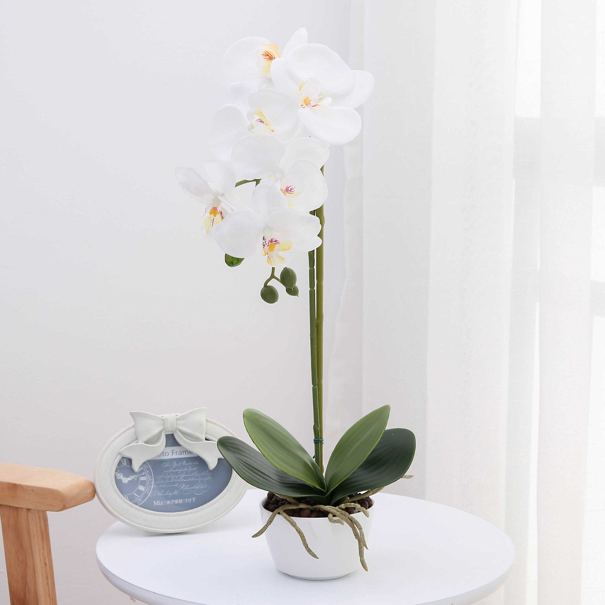 Livilan Silk Phalaenopsis Flower Arrangement Artificial Orchid Flowers With White Orchid Flower Arrangements Artificial Orchids Artificial Flower Arrangements