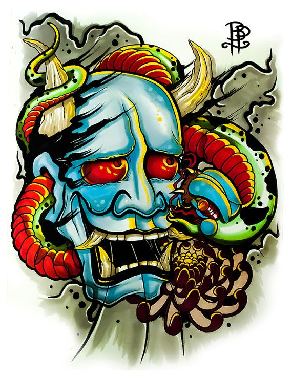 Hannya mask wrapped by a snake tattoo flash by brokenpuppettattoo