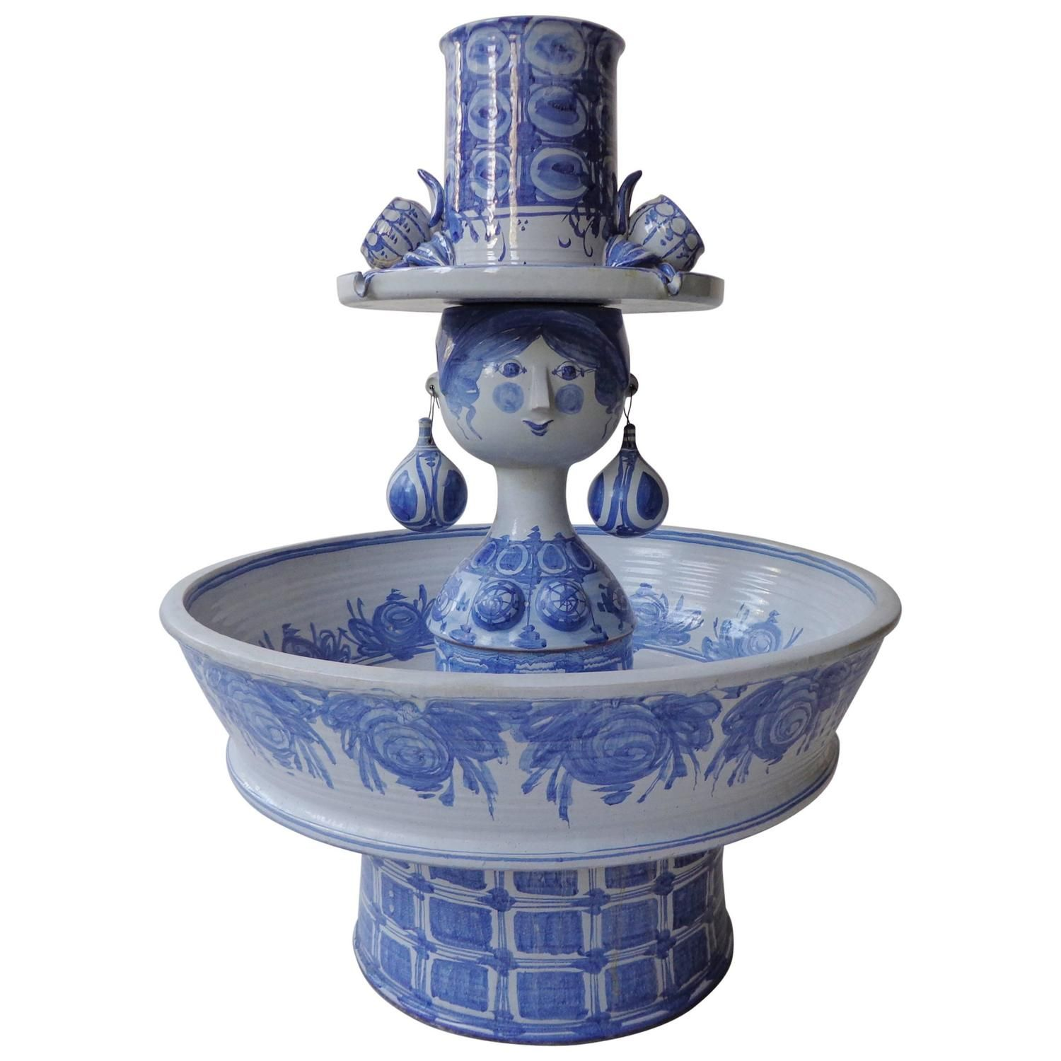 Unique Monumental Fountain By Bjørn Wiinblad In Blue Glaze Ceramic From A Collection Of