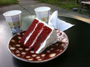 The true origin of red velvet cake is a bit of a mystery.