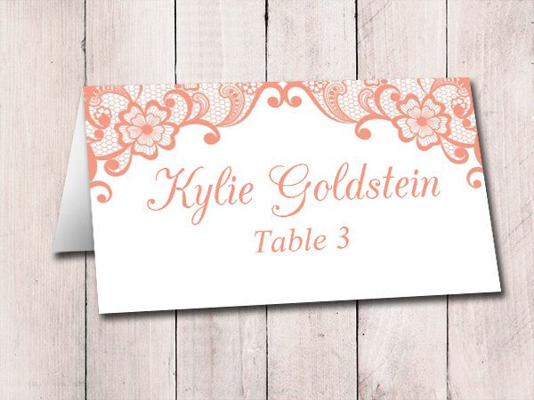 lace wedding place card template fold over escort card template bella lace coral wedding. Black Bedroom Furniture Sets. Home Design Ideas