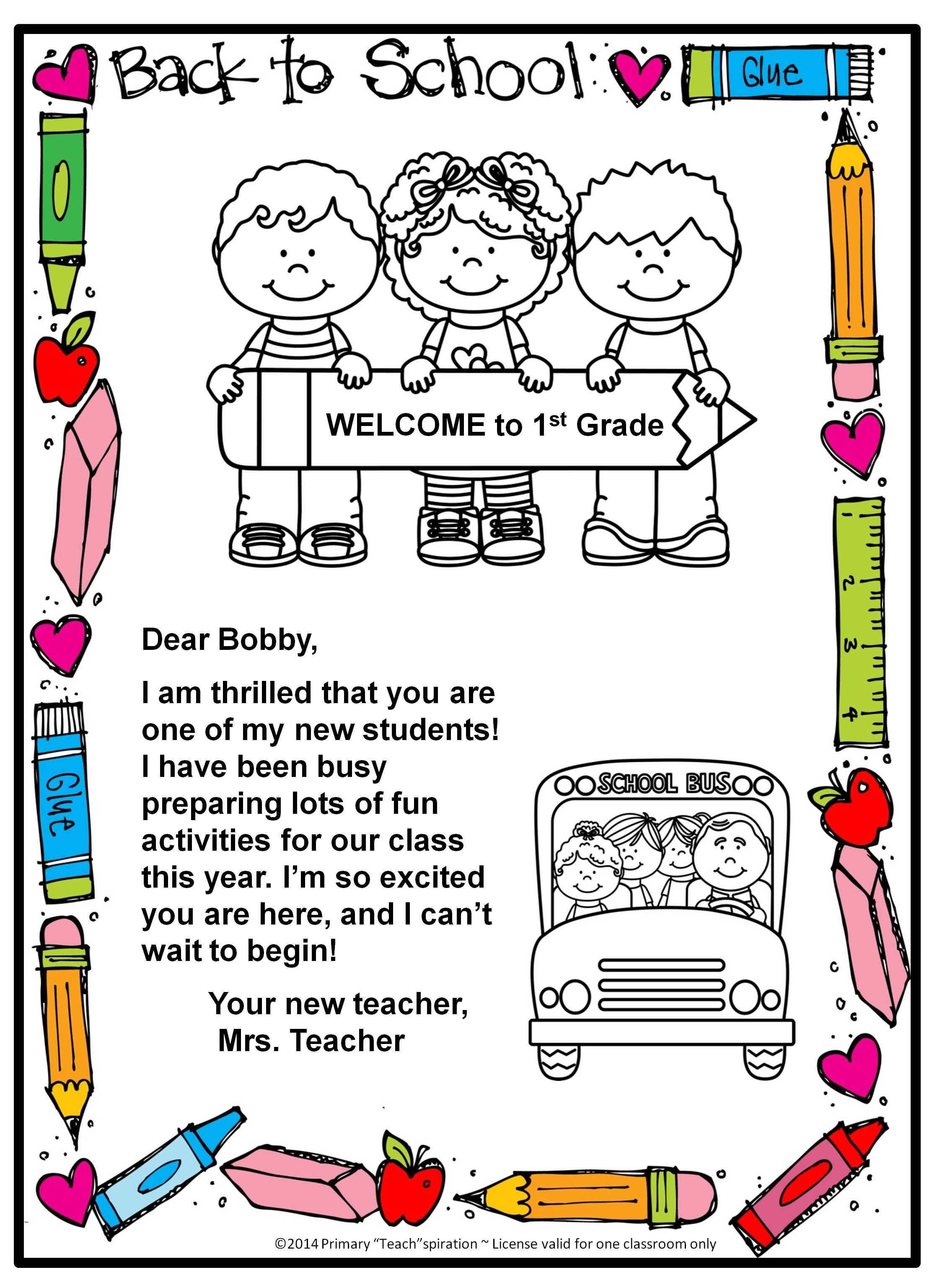 Back To School Welcome Letter And Postcard Editable