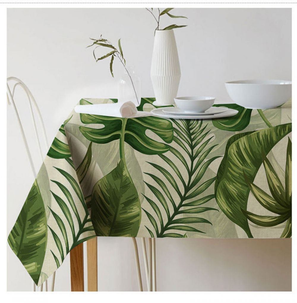Tablecloth Rectangular Pastoral Style Table Cloth Tropical Plants Printed Table Sofa Linens Elegant Table Cover Tischdecke Tropical Tablecloths Tropical Home Decor Leaf Tablecloth [ 1021 x 1000 Pixel ]