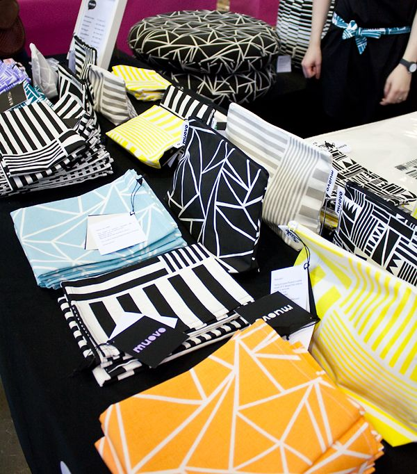 The black and white patterned floor pillows by Muovo could be fun in our apartment too. | Riisa.net