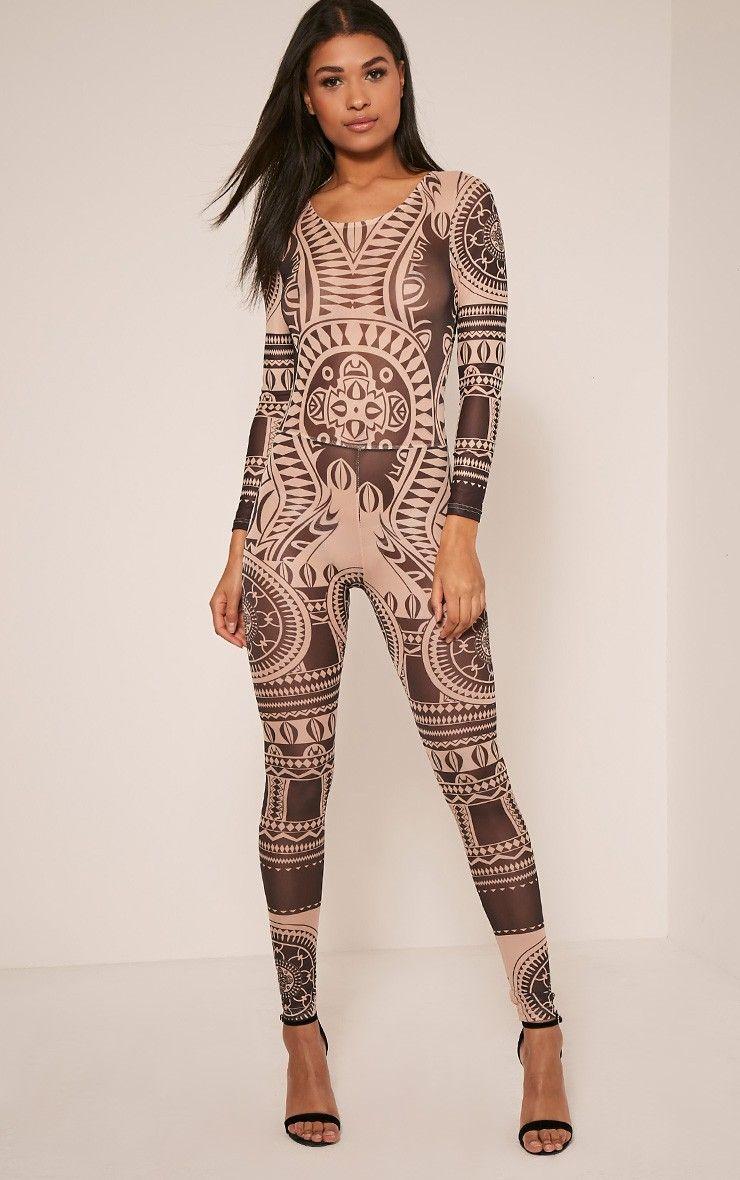 62baf95151 Mariah Nude Long Sleeve Sheer Mesh Geometric Catsuit