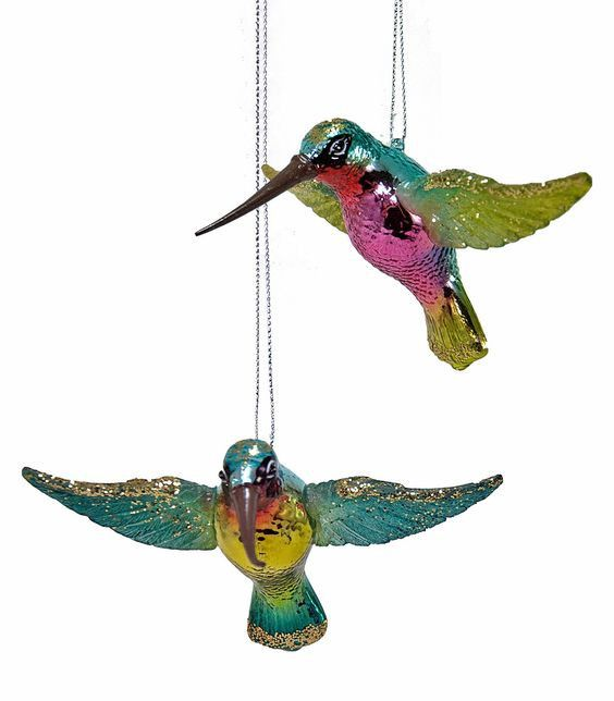 Bird lovers will love to hang these colorful fluttering hummingbirds on  their Christmas tree. -