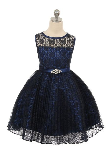 9b42d0c3e4e Navy Blue Lace Pleated Flower Girl Dresses