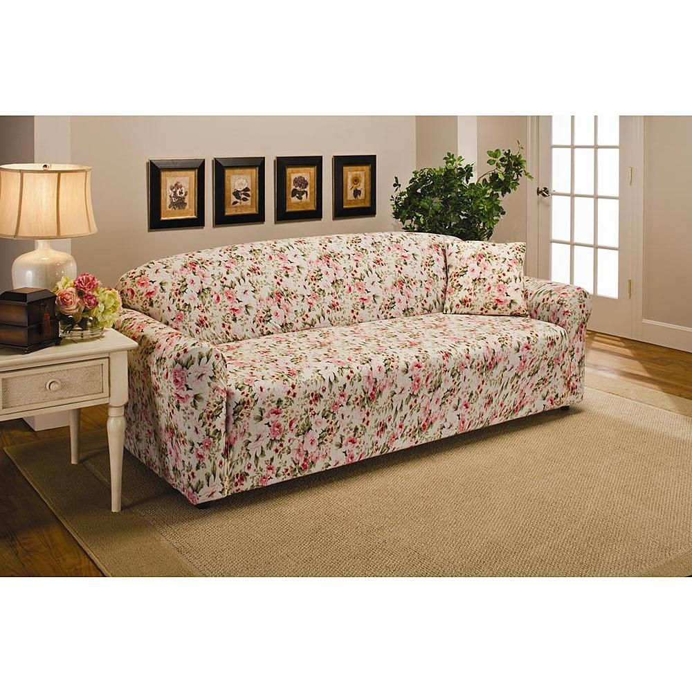 Madison Jersey Pink Floral Sofa Slipcover For The Home Pillows