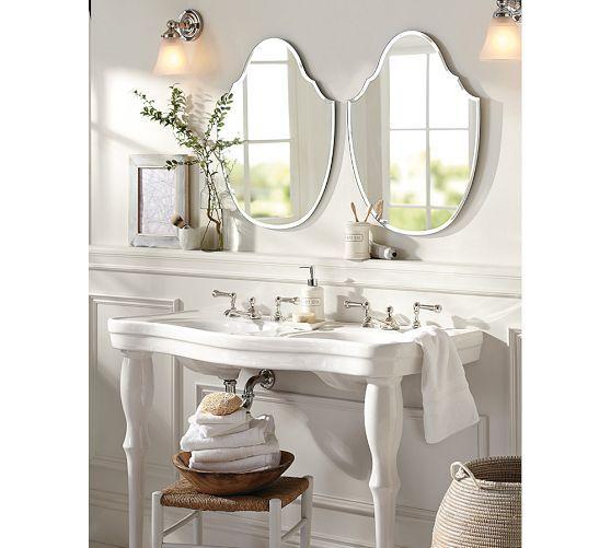 Parisian Pedestal Double Sink Console | Pottery Barn Love Double Sink~again  Very Europeanu2026
