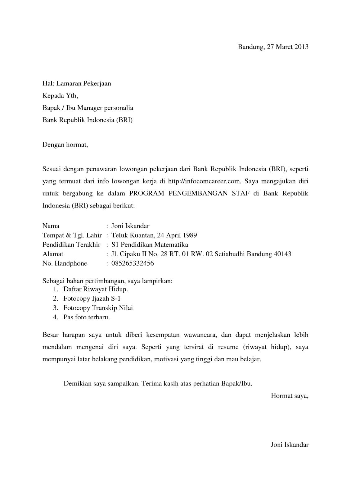 Surat Lamaran Kerja Bank BRI Surat, Cv kreatif, Riwayat