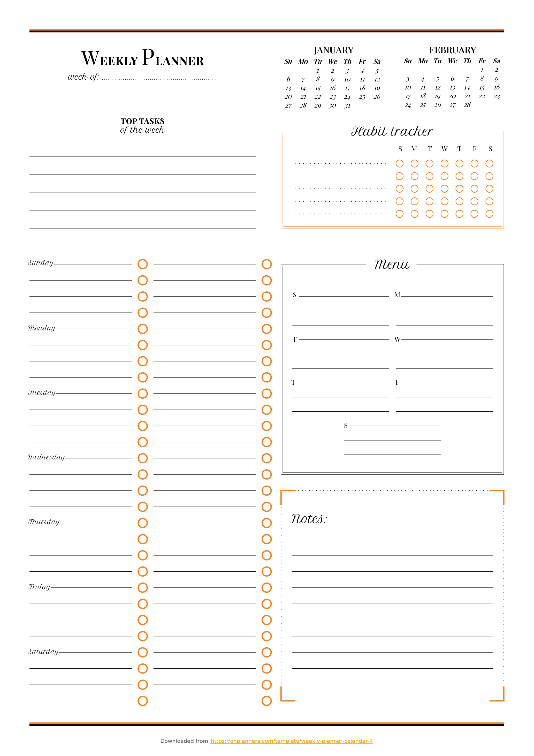 Printable Weekly planner with habit tracker PDF Download   Daily ...