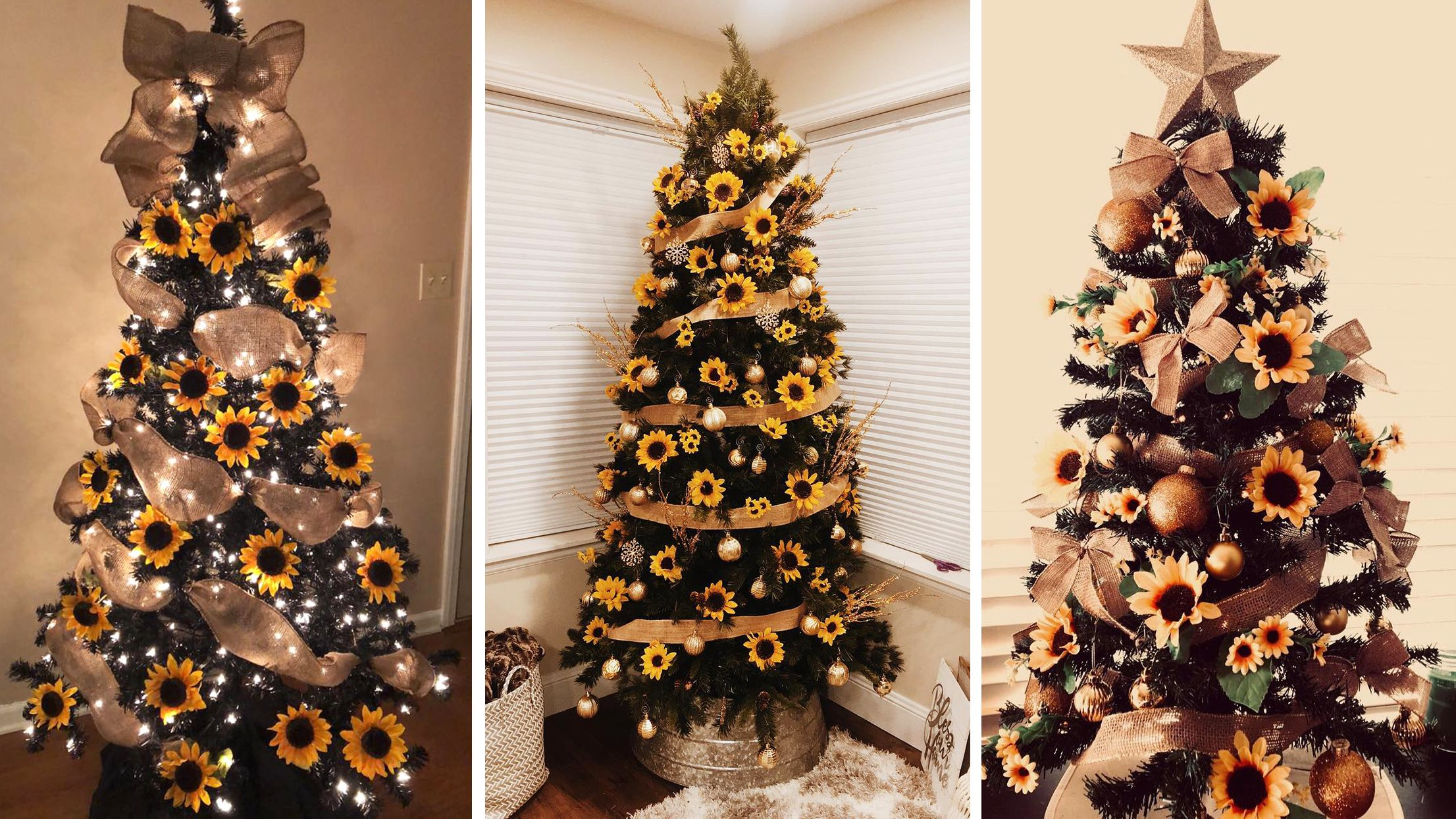 According to Pinterest, Sunflower Trees Are the Latest Christmas Trend #sunflowerchristmastree