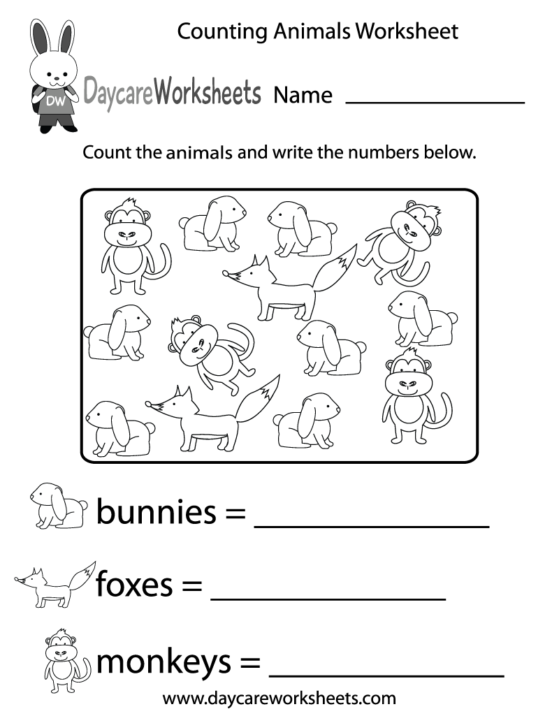Free Counting Animals Worksheet For Preschool Preschool Worksheets Preschool Math Worksheets Free Preschool Worksheets