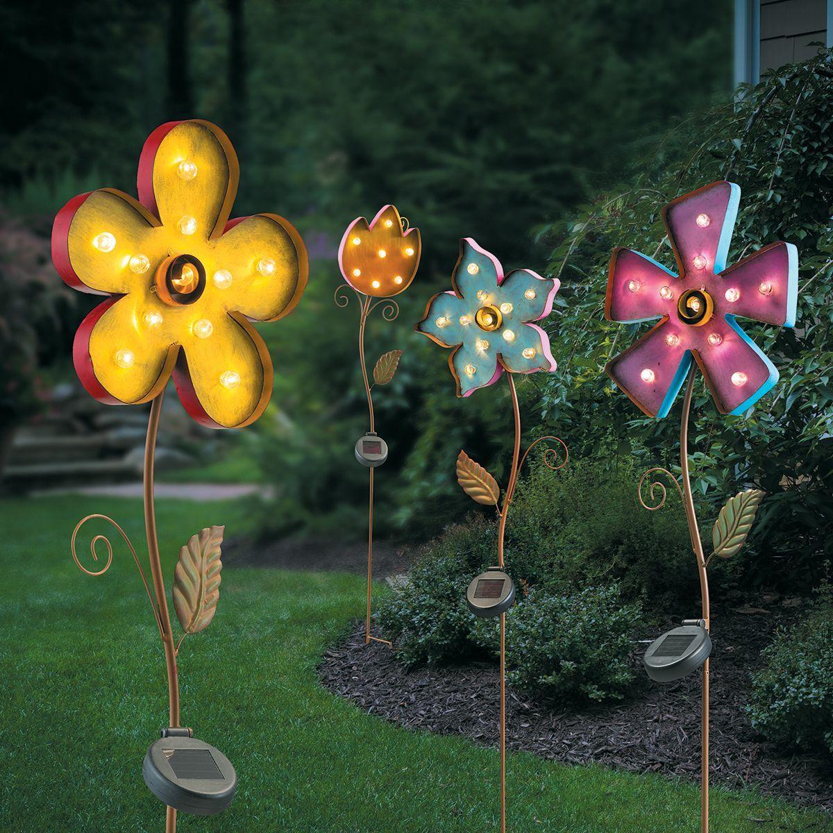 Solar Lighted Metal Flower Yard Stake   Yard decorations, Walkways ...