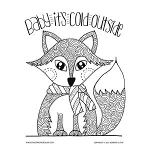 Adult Coloring Pages Fox Coloring Page Coloring Pages Winter
