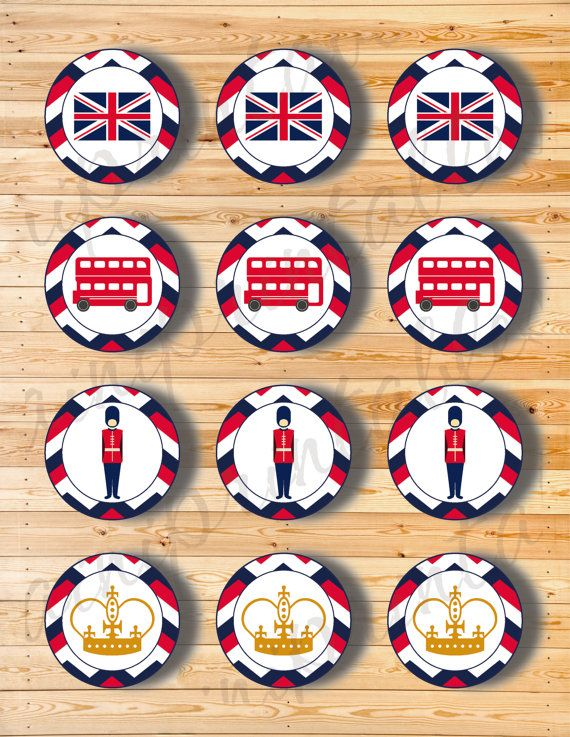 Two Digital Files  Cupcake Topper London 1 by AiniPrintables
