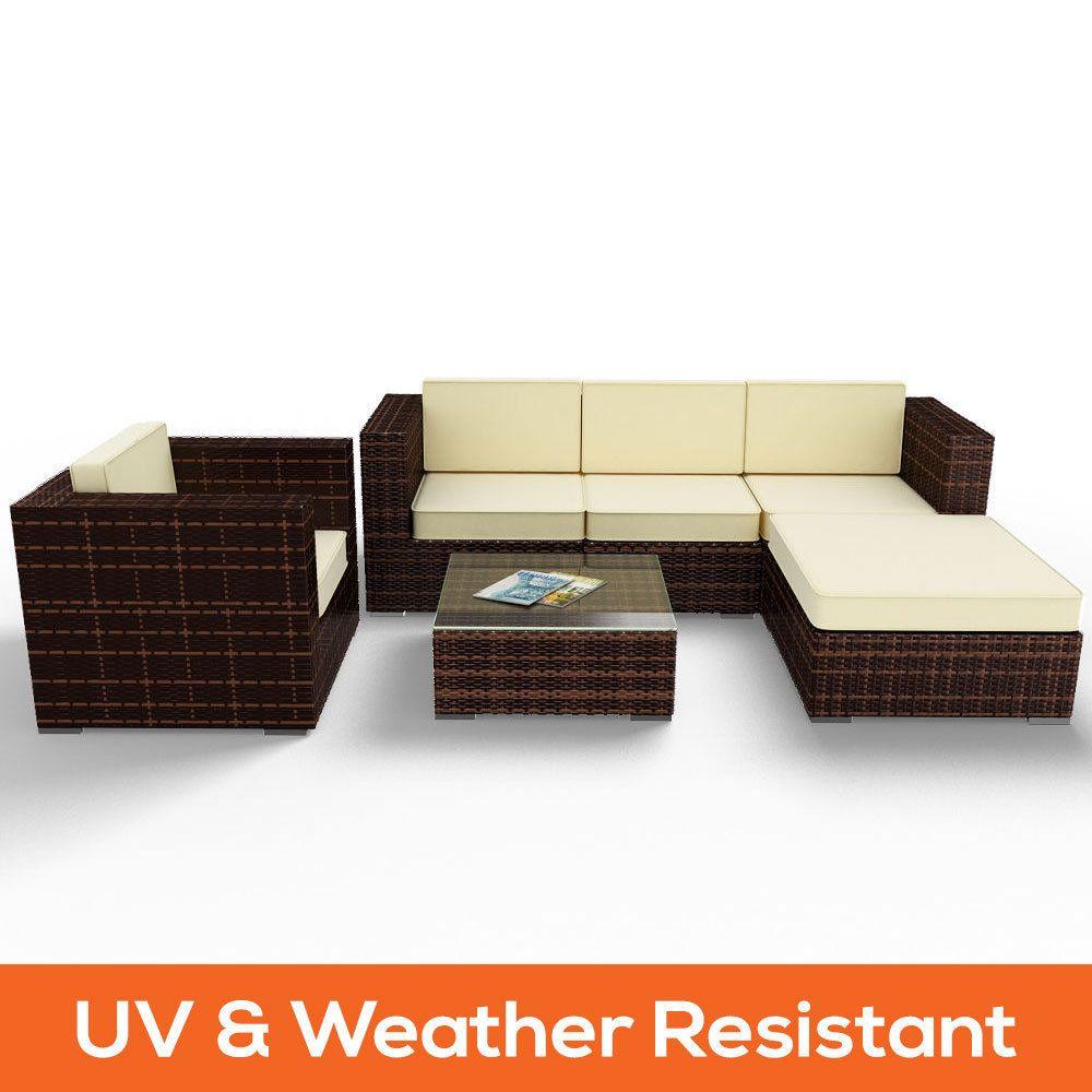 Brown 6pc PE Wicker Outdoor Sofa Lounge Chair Patio Table Furniture Set  Setting