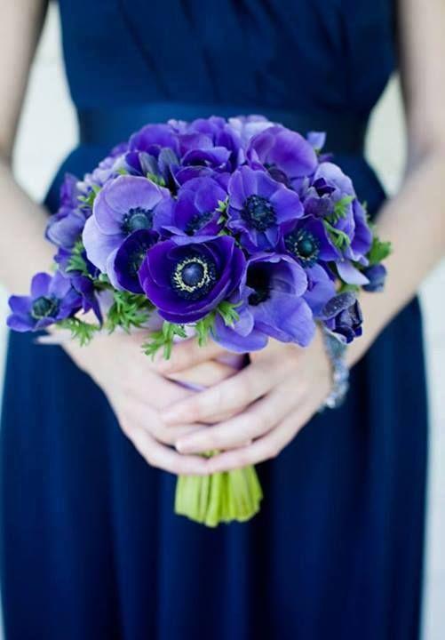bouquet de anemonas azules   amapola   Pinterest   Flowers, Wedding ...