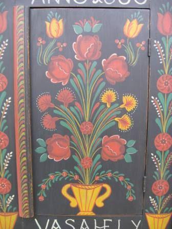 Folk Art Painted Furniture Hungarian Painted Carved Wall Cupboard Farm Peasant Folk Art Furniture Folk Art Painting Painting Scandinavian Folk Art