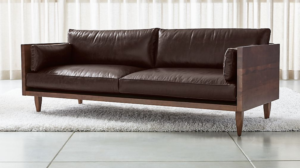 Sherwood Leather 2 Seat Exposed Wood Frame Sofa Reviews Crate And Barrel In 2020 Sofa Wood Frame Sofa Frame Exposed Wood