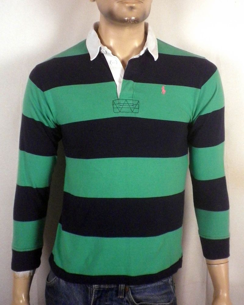 Euc Polo Ralph Lauren Green Navy Striped Rugby Shirt Twill