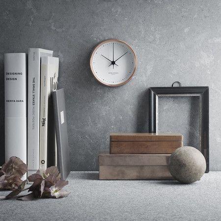Georg Jensen Henning Koppel Clock Copper White 10cm Contemporary Clocks Decor Wall Clock Design