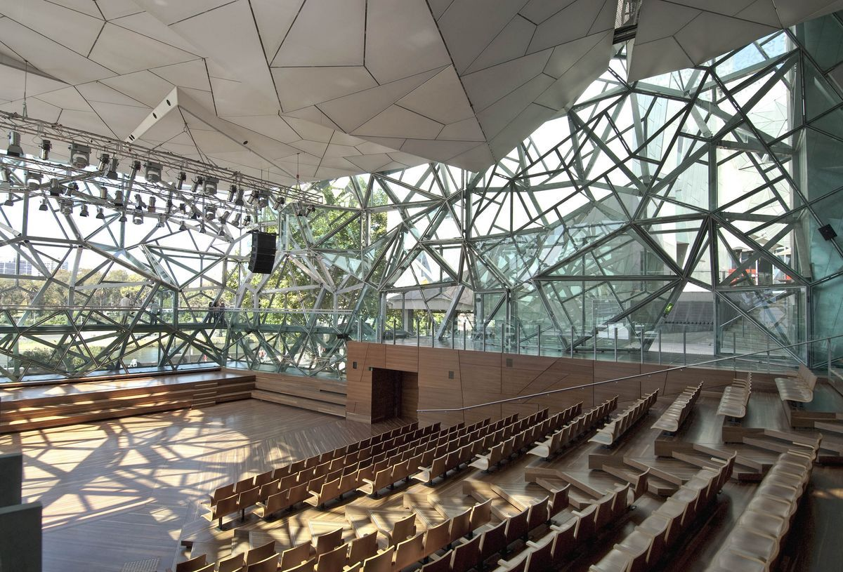 bmw edge at federation square   auditorium, inside/outside   Lecture hall  design, Architecture, Hall design