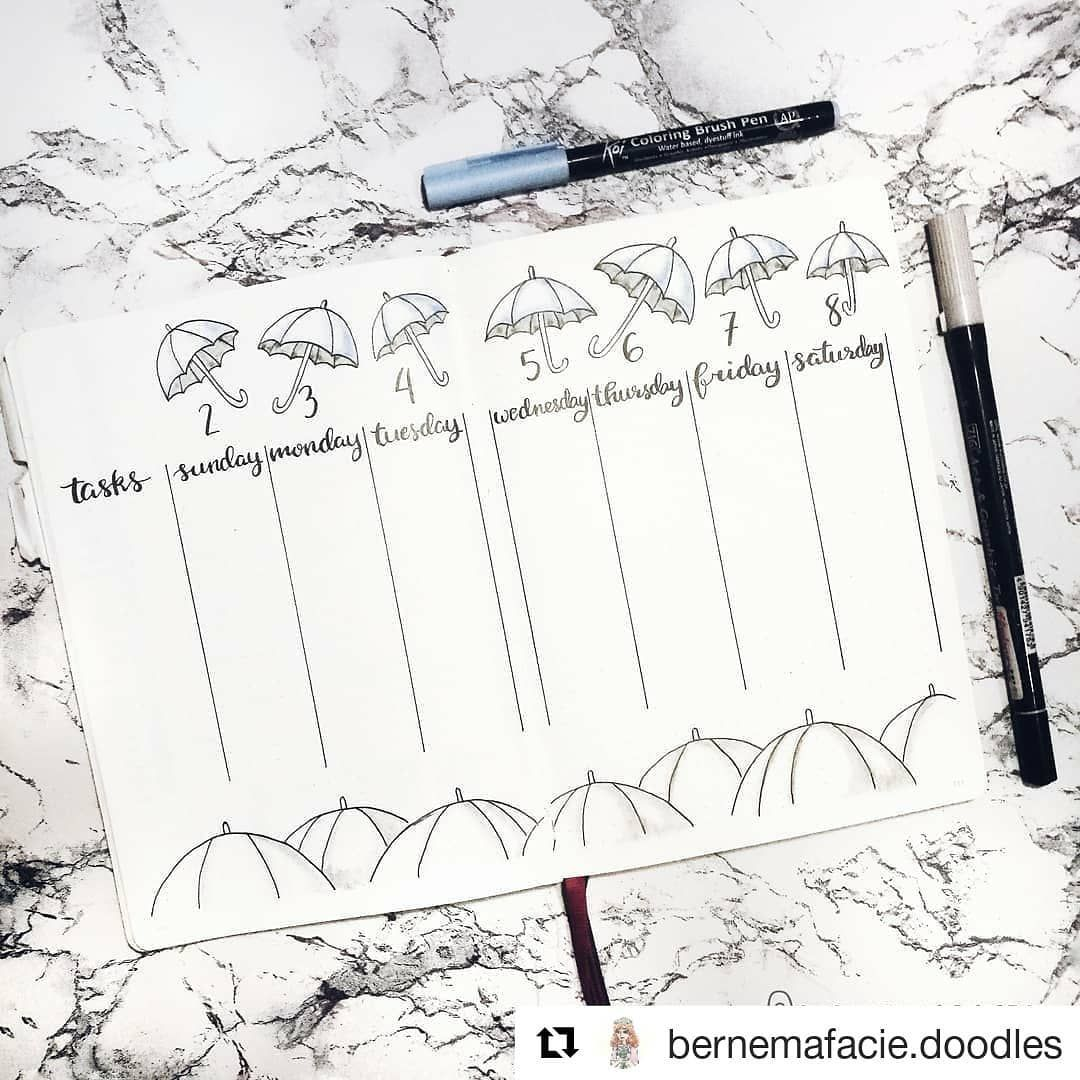 "Bullet Journal features on Instagram: ""By @bernemafacie.doodles � ・・・ My first weekly spread for June featuring an umbrellas! Keeping up the pluviophile theme. This spread is…"""