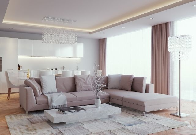 Fesselnd Ideen Wohnzimmer Einrichten Wohnküche Neutrale Farben Indirekte Beleuchtung