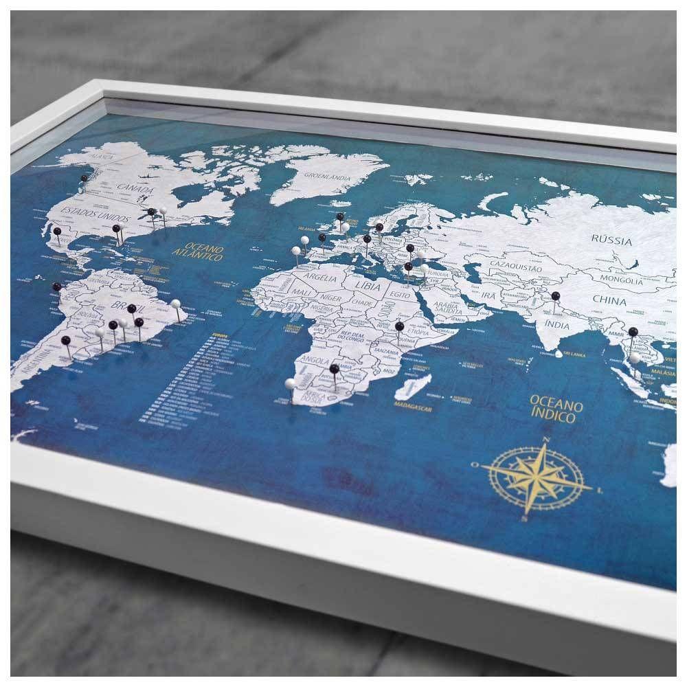 Quadro Box G Mapa Mundi Urban 100 Pins Alfinetes Para Marcar