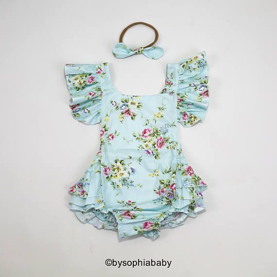 2e6764b0977a Baby Girl Romper Set Baby Romper and Headband Blue Floral