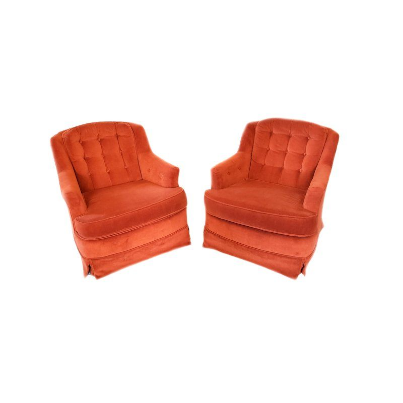 1970s Vintage Fairfield Burnt Orange Velour Tufted Rocking Chairs A Pair Tufted Rocking Chair Swivel Rocker Chair Rocker Chairs