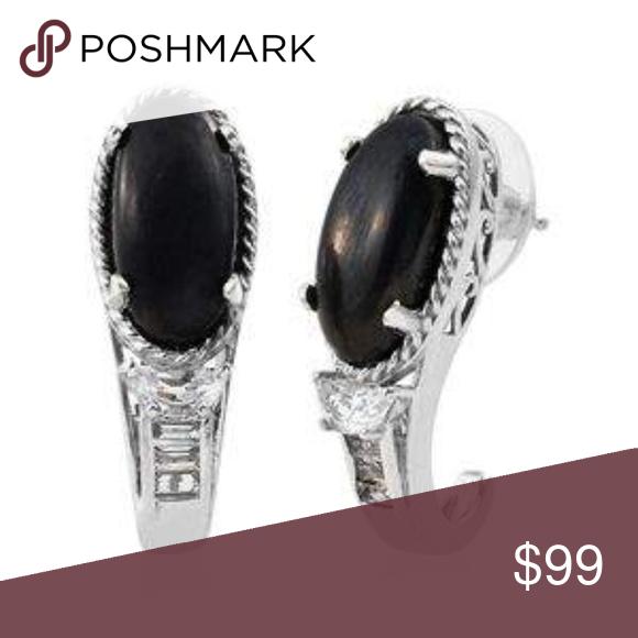 Shungite White Topaz Platinum over Silver Earrings 8 cts of Shun