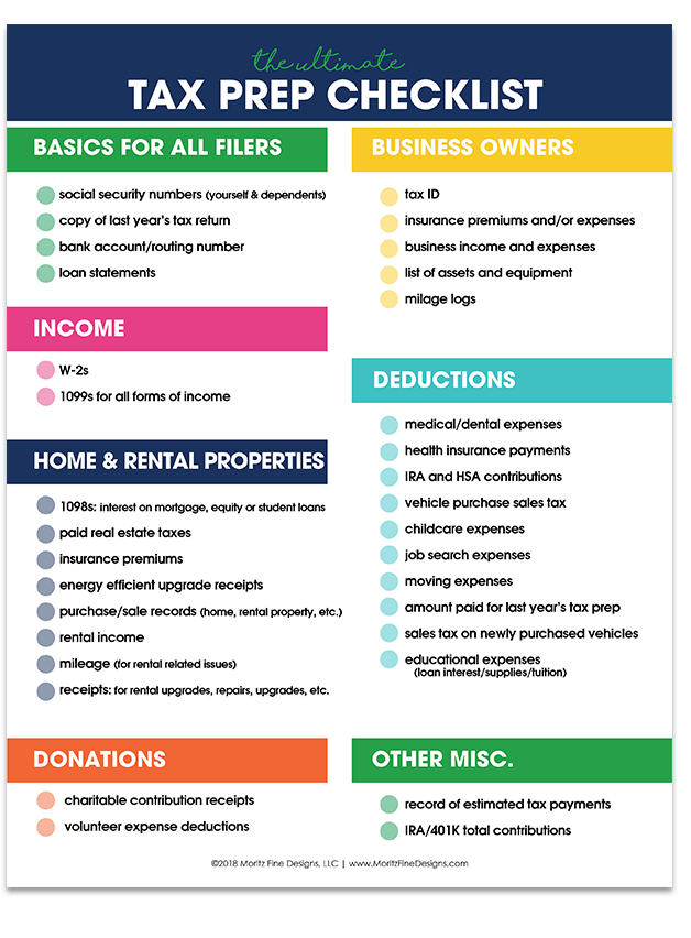 Income Tax Prep Checklist Free Printable Checklist Tax Prep