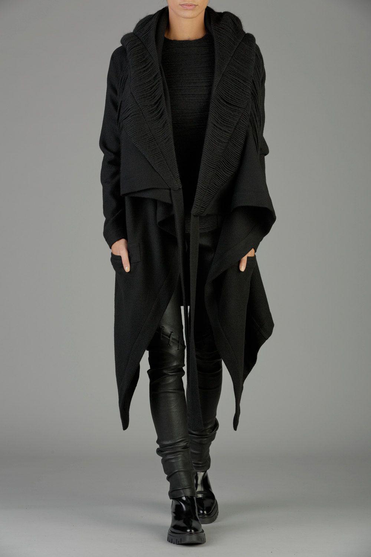 Black Hooded Coat Winter Coat Womens Coat Hooded Cloak Wool Coat Waterfall Coat Maxi Cardigan Oversized Co Coats For Women Wool Hoodie Black Hooded Coat