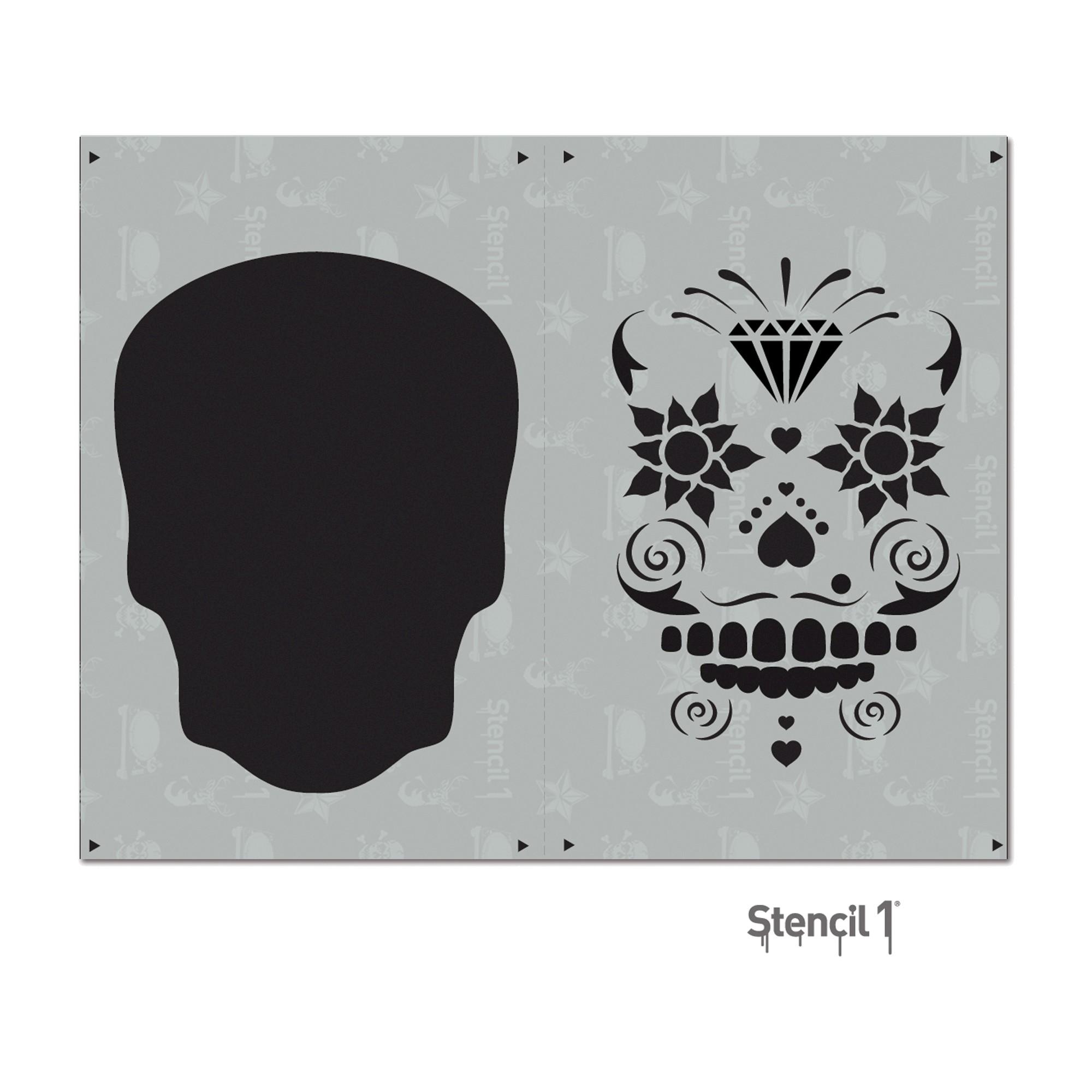 """Stencil1 Sugar Skull Layered Stencil 8.5"""" x 11"""", White"""