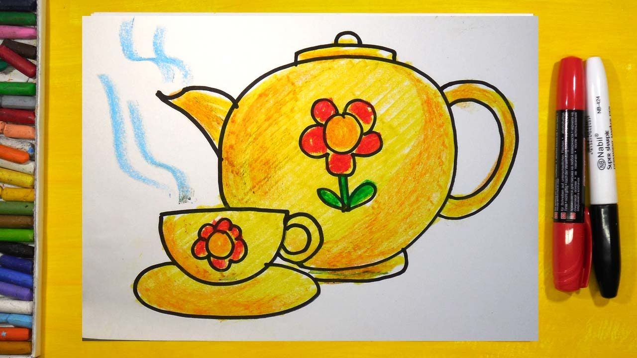 Как нарисовать Чашку и Чайник, Урок рисования для детей от ...